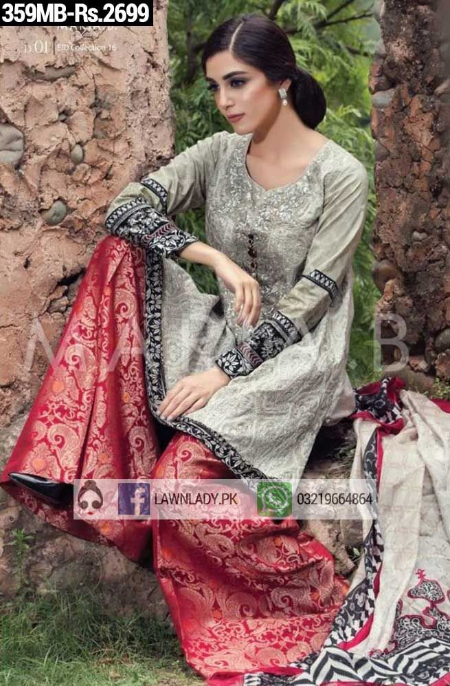 BUY Maria B Replica Linen 2016 3Pcs Embroidered Suit Design#359MB. **FREE…