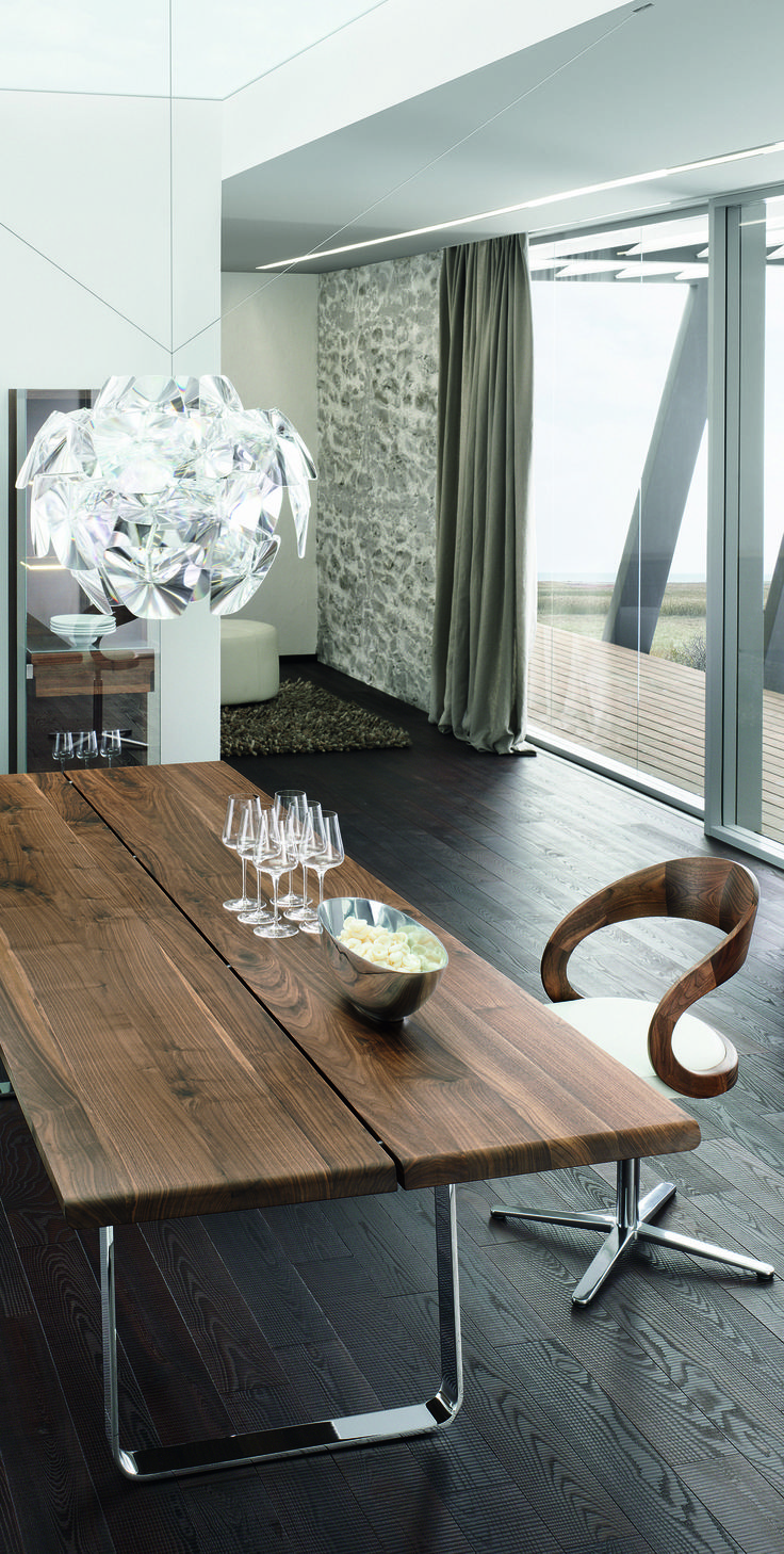 Natural beauty exists not only among people. but also among furniture. TEAM7 Nox table with Girado chair in walnut with white leather. #solid #wood #design #luxury #dining #interior #kitchen
