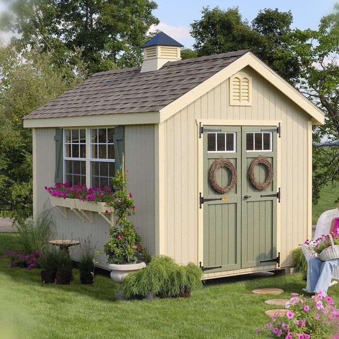 The Colonial Williamsburg goes with any backyard! They work great for a pool house, potting shed, retreat, or just storage! This panelized kit comes pre-assembled, primed, and ready for paint! Panelized means the walls are in panelized sections, everything else is pre-cut and labeled for you! With these kits the customer provides the shingles, drip edge, and paint. A manual will also be included. #woodshedkits #buildashedcheap