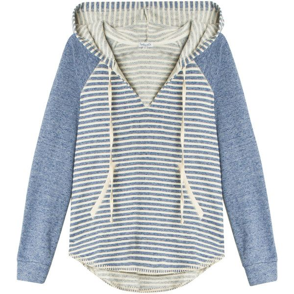 SPLENDID Corsica Hoodie ($77) ❤ liked on Polyvore featuring tops, hoodies, sweaters, blue striped top, blue hoodie, nautical stripe top, sweatshirt hoodies and stripe top