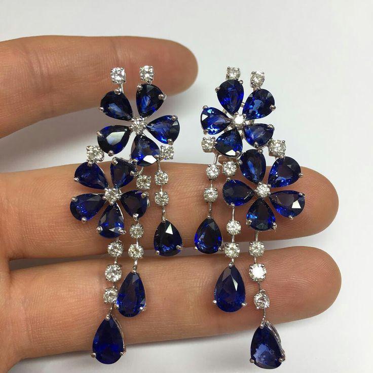 sapphire earrings diamond