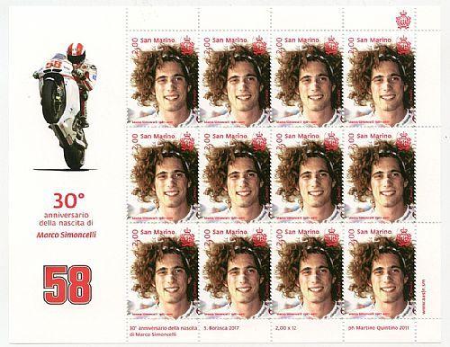 30° Anniversario della nascita di Marco Simoncelli - minifoglio di 12 francobolli.