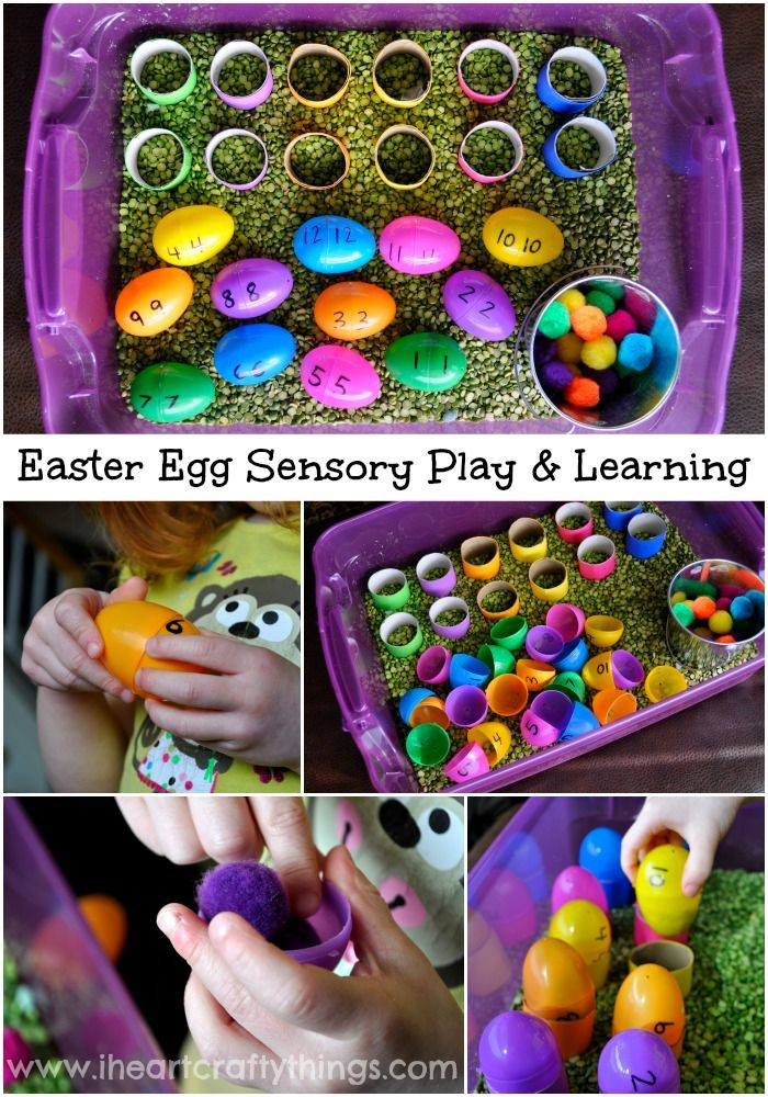 Plastic Easter Egg Sensory Play & Learning Bin from I Heart Crafty Things.