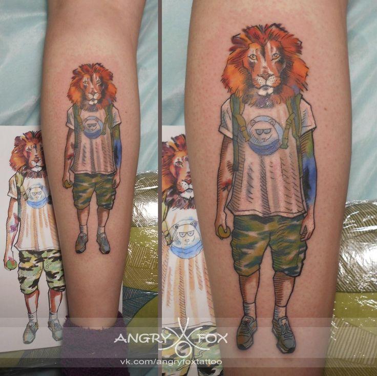 Тату работы Angry Fox.  Акварельный лев в татухах / watercolor lion tattoo