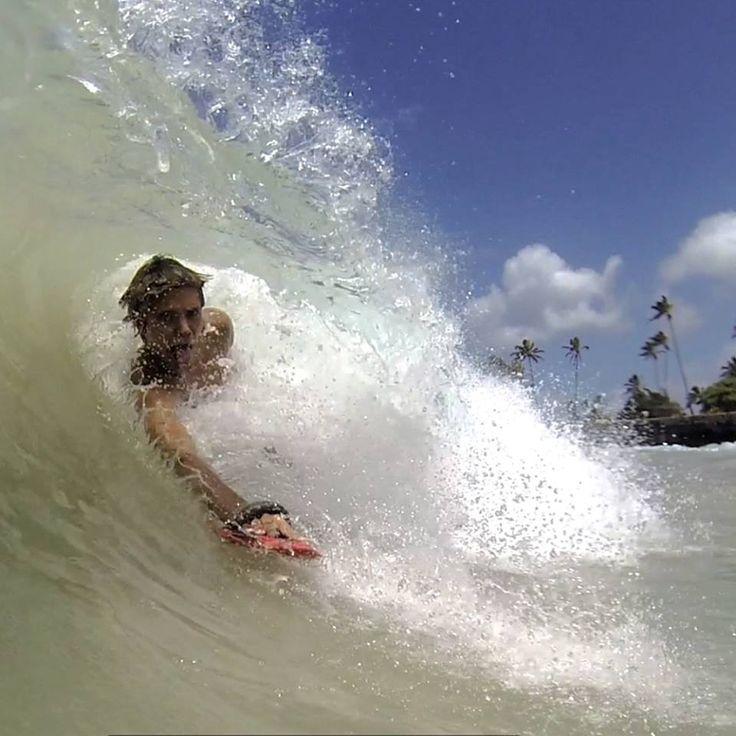 Tyme sliding on his Ahoi! Handplane in Hawaii!!!