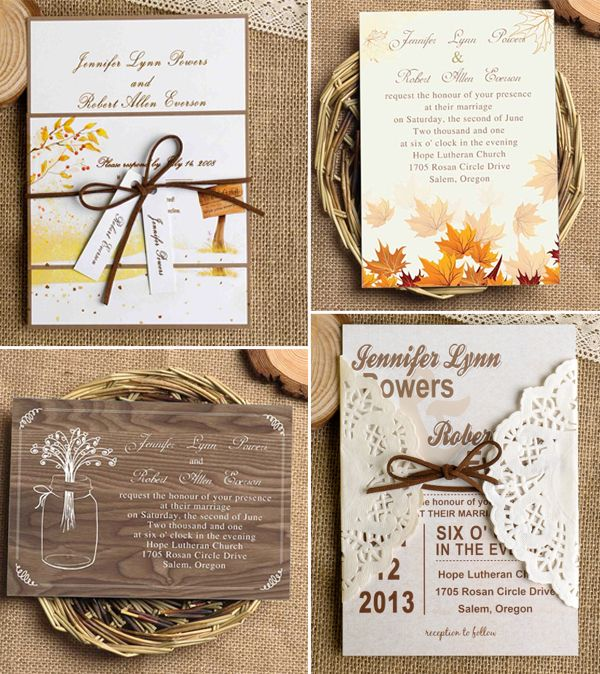 Country Rustic Fall Wedding Invitations with Lace and Ribbon