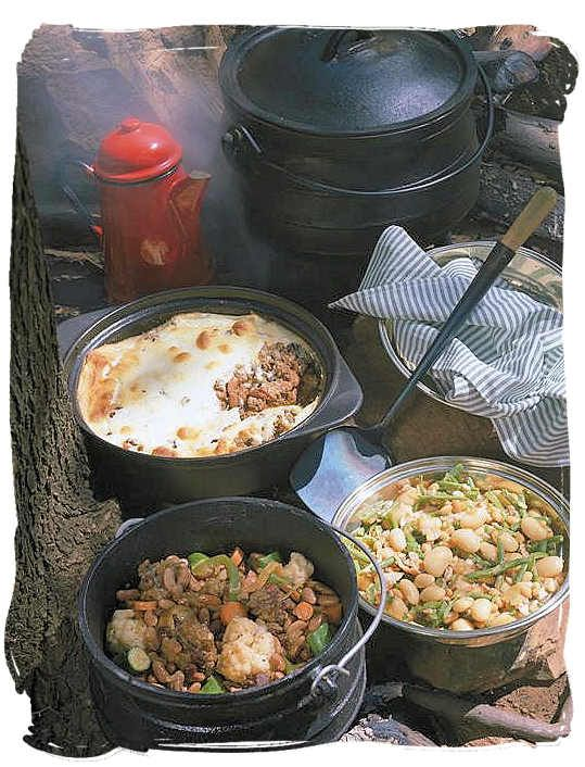 "In South Africa, potjiekos translated ""small pot food"", is a stew prepared outdoors. It is traditionally cooked in a round, cast iron, three-legged pot, the potjie, descended from the Dutch oven brought from the Netherlands to South Africa in the 17th century"