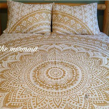 Silver or gold andala tapestry comforter cover, flat sheet and 2 matching pillowcases. Indian roundie mandala doona cover, boho bed set by TheFoxAndTheMermaid on Etsy https://www.etsy.com/listing/267273402/silver-or-gold-andala-tapestry-comforter