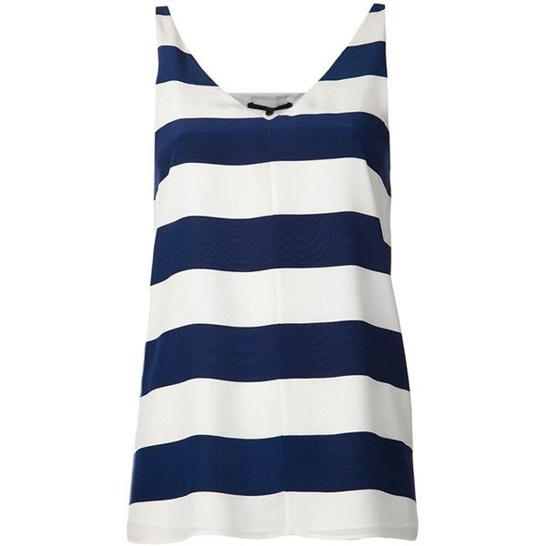 tibi New York Striped Refined Tank (13,210 INR) ❤ liked on Polyvore featuring tops, shirts, tank tops, tanks, blusas, caspian, silk shirt, v neck tank, v-neck tank and striped shirt
