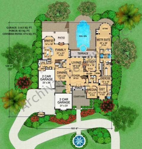 Archival Designs Luxury Castle House Plan Royal Birkdale First Floor Plan Part 88