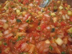 Changes: 1tbs Corn starch 2tsp salt 1/4 c brown sugar 3 jalapeño with seeds 12ish c zucchini  6 c toms 5 bell peppers total (2 grn, 3 multi colored) (Above is spicy for me but not unbearable).   Chop all ingredients  Water bath for 15 mins. Made 10 pints. Uh-mazing!!   Zucchini Salsa, Canned