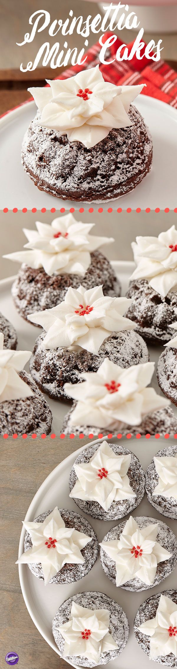 Poinsettias are the flower of the season. Made with Creamy Decorator Icing, then placed on a mini fluted tube cake, they add a festive holiday touch to your sweets table.