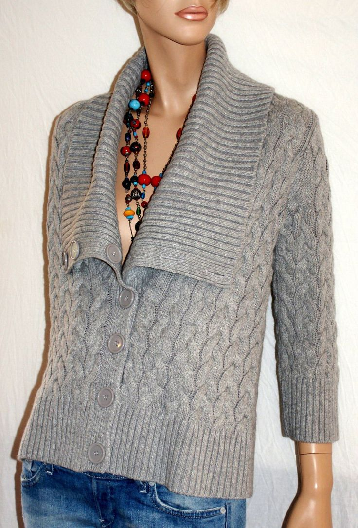 Soft & Warm Woman Cardigan Angora Viscose Blend WAREHAUSE Cardigan Maglione Invernale Donna Grigio Perla Manica 3/4 Taglia 42/44 UK Size 12 di BeHappieWorld su Etsy