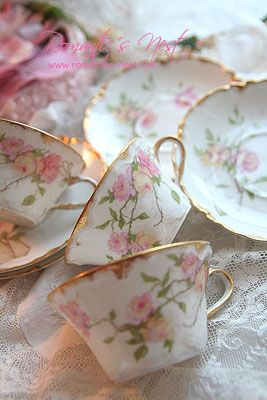 4:00 Tea...Haviland Limoges...teacups and saucers with romantic floral garlands
