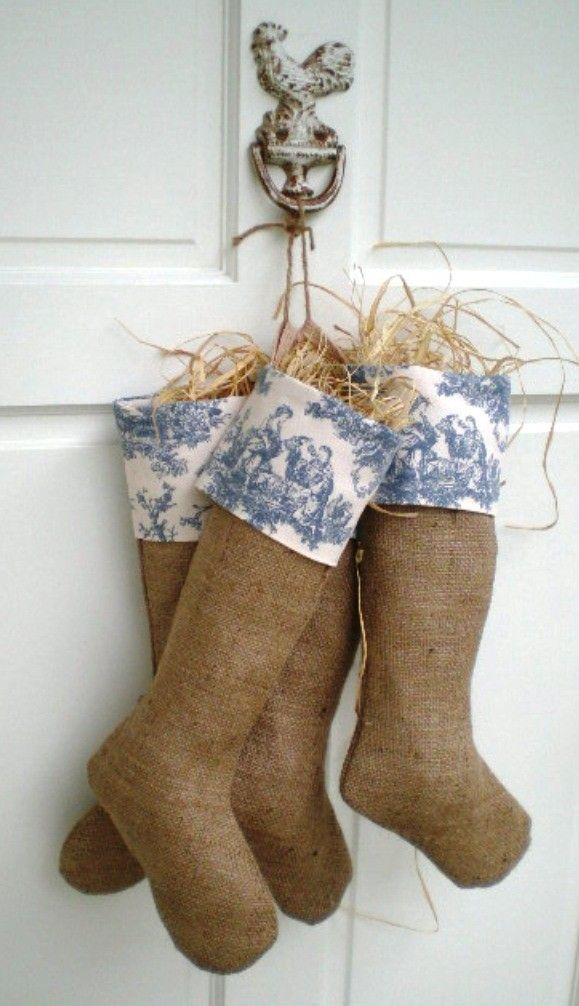 Country Chic French Wedgewood Blue and Ivory Sweet Pastimes Toile Burlap Christmas Stocking. $28.00, via Etsy.