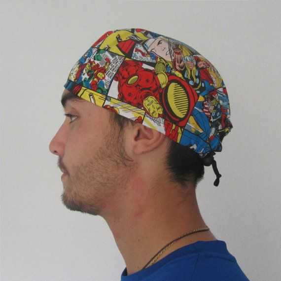 Scrub cap, superheroes, avengers,  cool comic fabric hair cover for chef, cooking, veterinary, dentist, nurse, doctor, medical student