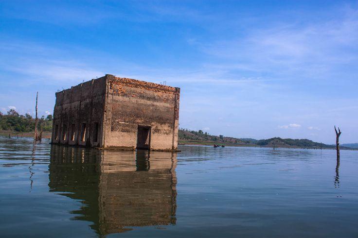 Unseen in Thailand . underwater city.At Sangkhlaburi. Kanchanaburi. Thailand