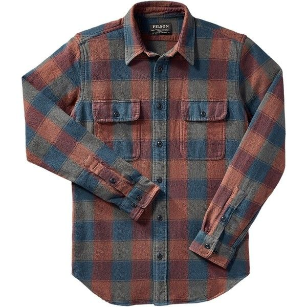Filson Vintage Flannel Work Shirt ($102) ❤ liked on Polyvore featuring men's fashion, men's clothing, men's shirts, men's casual shirts, mens vintage shirts, mens flannel shirts, mens tartan shirt and mens plaid shirts