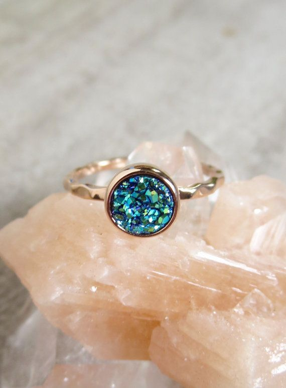 Gorgeous, blue-green colored druzy quartz stone is set inside a petite rose gold vermeil hammered ring band. Natural, druzy stone is coated with