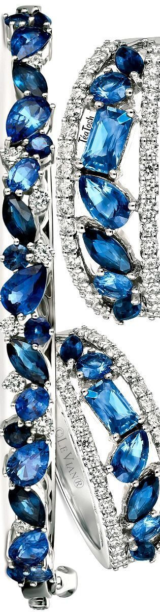 Le Vian® Precious Collection Sapphire (4-1/3 ct. t.w.) and Diamond (¼ ct. t.w.) Bangle Bracelet in 14k White Gold