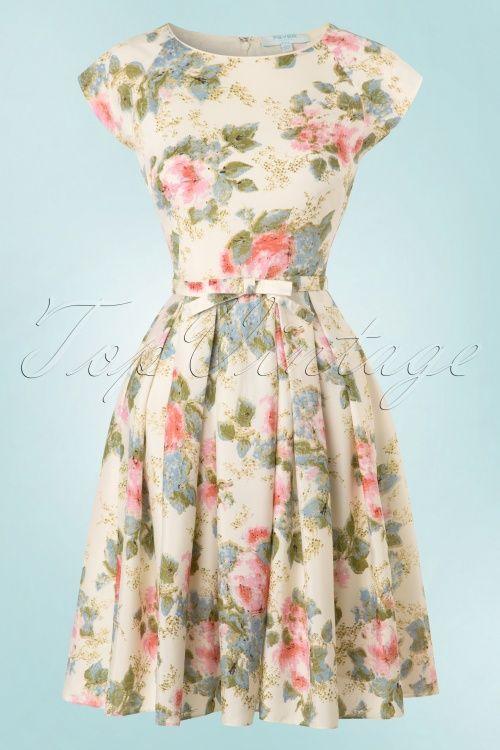 Fever ~ 50s Mary Roses Swing Dress in Cream