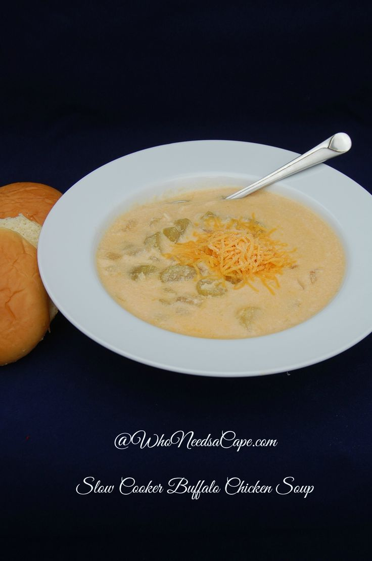 Slow Cooker Buffalo Chicken Soup | Who Needs A Cape? All the flavors of Buffalo Chicken in soup form, and better yet cooked away in your slow cooker.