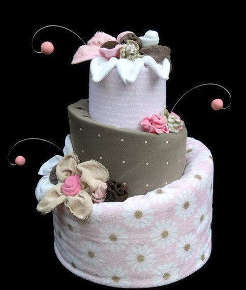 Custom+Diaper+Cake+for+a+Baby+Girl+Brown+&+Pink+di+babyblossomco,+$150.00
