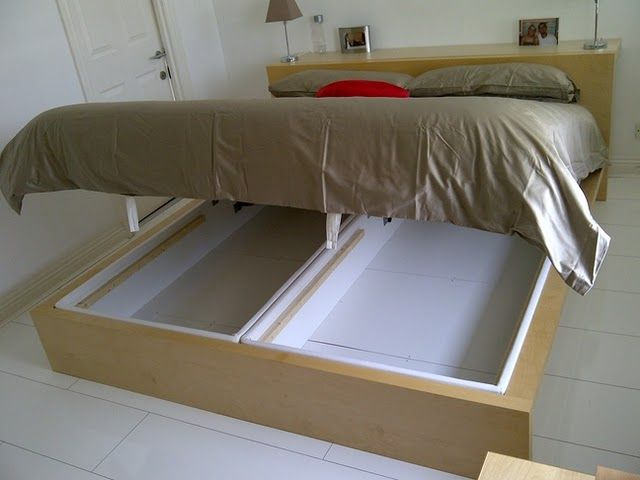 Extra storage under the bed!!: Malm Marries, Marries Alsarp, Under Bed Storage, Storage Idea, Ikea Hacks, Small Bedroom, Storage Beds, Ikea Hackers