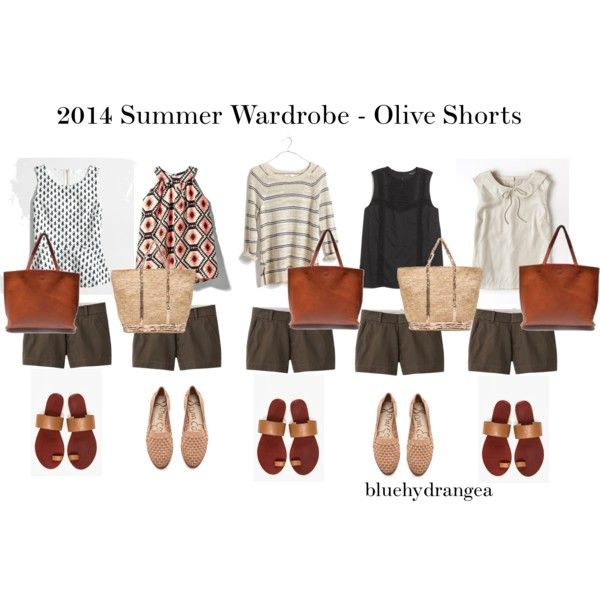Summer Wardrobe - Olive Shorts, created by bluehydrangea on Polyvore