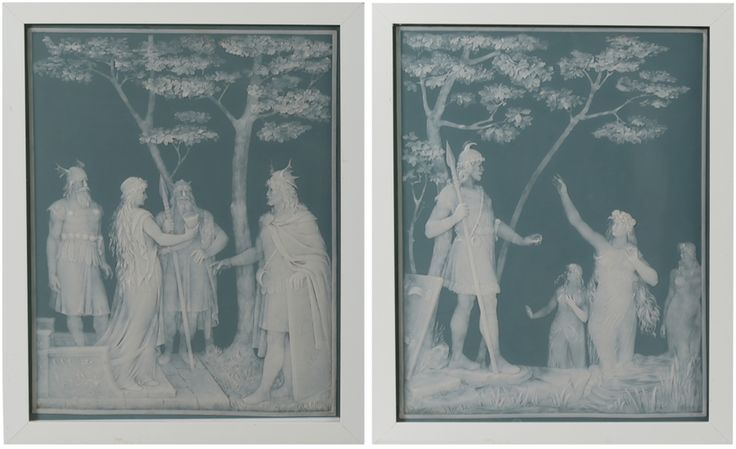 Pair of Framed Villeroy & Boch Mettlach Phanolith Plaques by J.B. Stahl // Ca. 1905 - Wall - Greedfineart.com