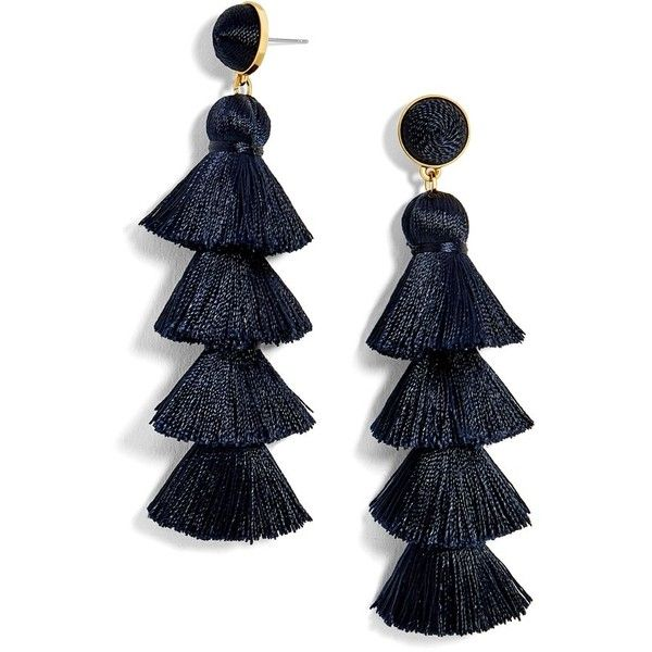 Women's Baublebar Gabriela Tassel Fringe Earrings ($48) ❤ liked on Polyvore featuring jewelry, earrings, navy, navy jewelry, statement earrings, baublebar, fringe tassel earrings and fringe jewelry