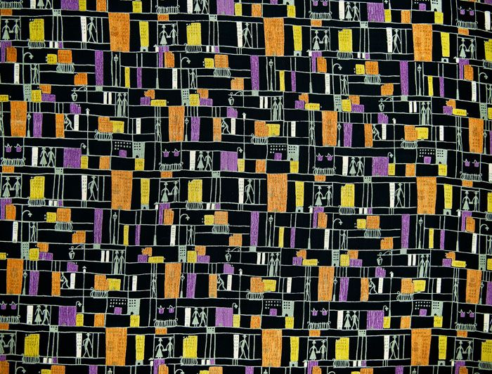 "Alicja Wyszogrodzka, MDM printed clothing fabrics, produced by the ""First"" Rudzka Dye and Finishing Shop in Ruda Pabianicka, 1955, collections of the National Museum in Warsaw, photo: Michał Korta"