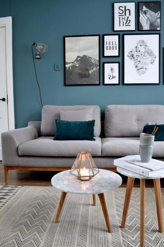 Image result for beign teal blue living room