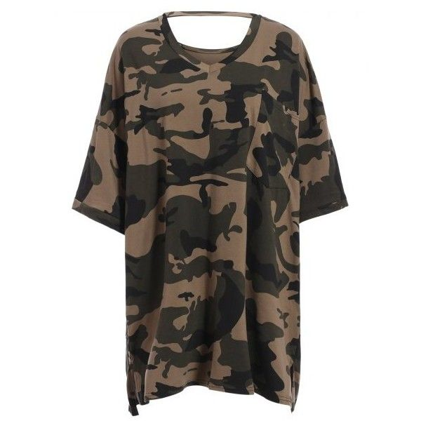 Casual V-Neck Camo Print Short Sleeve Women's Tee ($18) ❤ liked on Polyvore featuring tops, t-shirts, camouflage t shirts, camouflage tee, v neck top, camo t shirt and v-neck top