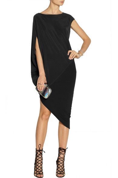 Black stretch-silk crepe and stretch-jersey Draped sleeve, paneled, asymmetric hem Slips on 94% silk, 6% elastane; combo: 94% viscose, 6% spandex Dry clean