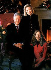 """President """"Bill"""" Clinton, his wife First Lady Hilary Rodham Clinton and daughter Chelsea. Clinton failed to pass a national health care reform and the Republican Party won control of Congress in 1994."""
