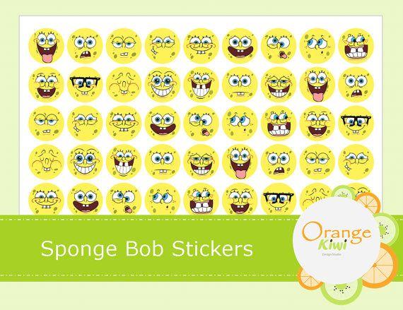 Sponge Bob Stickers  Planner Stickers  Cupcake by OrangeKiwiDesign
