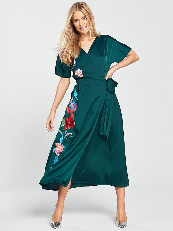 1abd50fb24222 Lost Ink Embroidered Wrap Maxi Dress - Dark Green in 2018 | Stitch ...