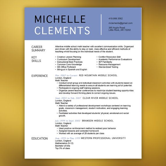 Dental Resume Template   Resume With Free Cover Letter And References    Instant Download   MS Office  CLEMENTS