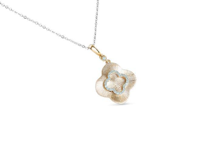 18 ct rose gold pavé set diamond flower pendant