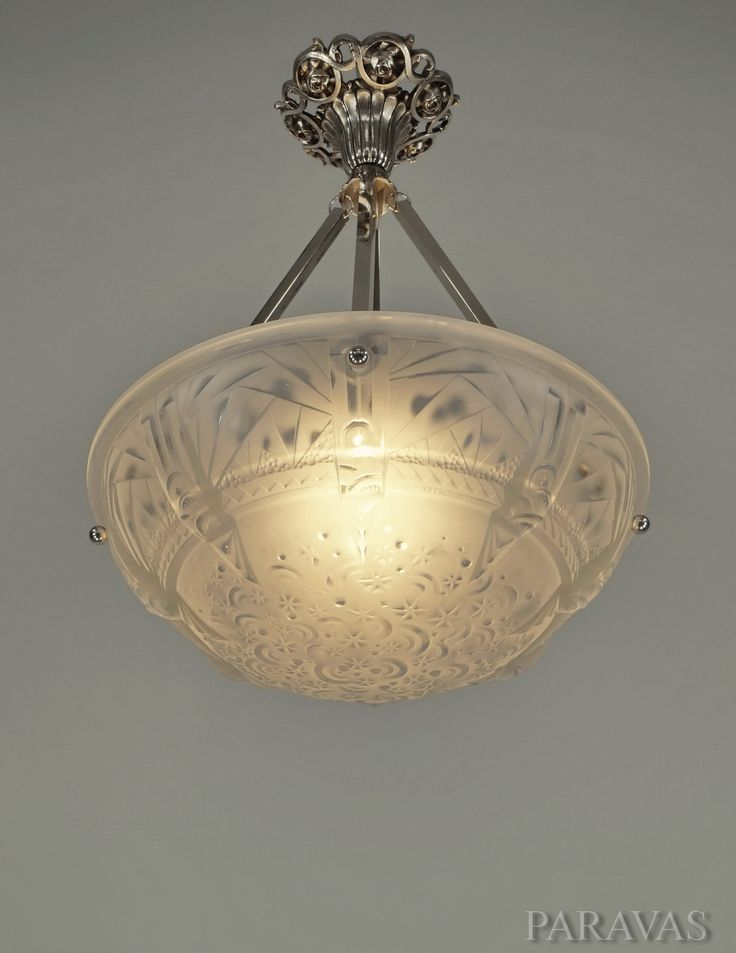 MULLER FRERES French 1930 Art Deco Chandelier In Nickeled Solid Brass And Frosted Molded Pressed