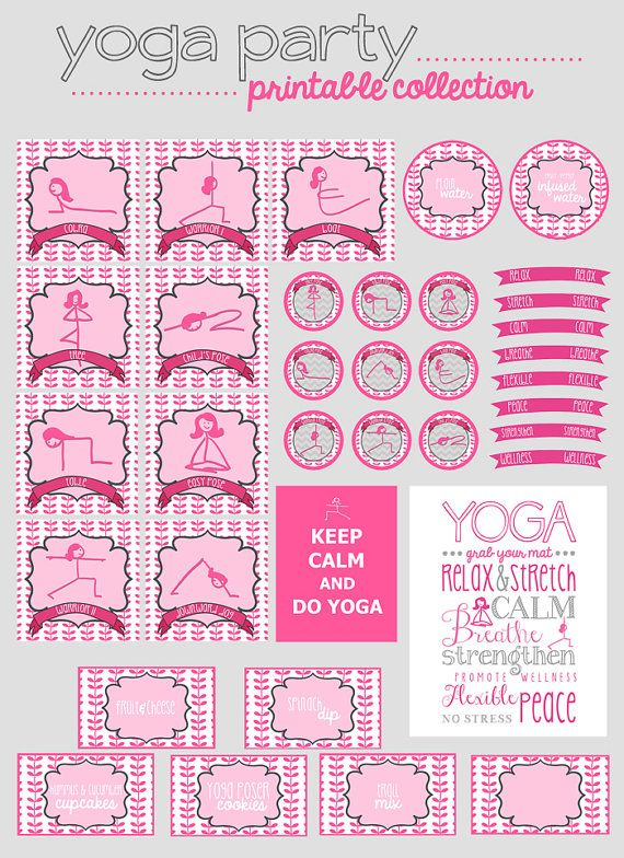 Yoga Party Printable Collection by bigKlittlekdesigns on Etsy, $15.00