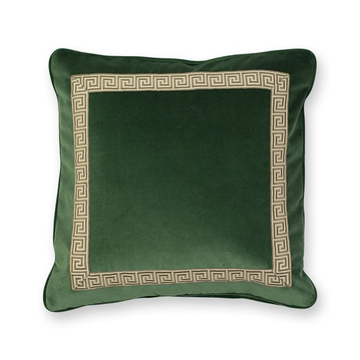 Versailles Velvet Throw Pillow - Hunter Green Products, Green and Hunter green