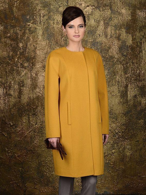 Пальто женское цвет горчичный, ворс, мембрана, артикул 10141533