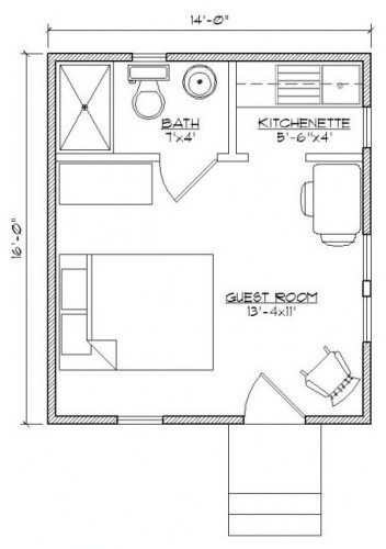11 best bunkie layouts images on pinterest small houses for Bunkie floor plans