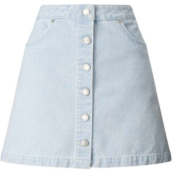 Miss Selfridge Bleach Denim Skirt ($26) ❤ liked on Polyvore featuring skirts, bleached denim, blue skirt and miss selfridge