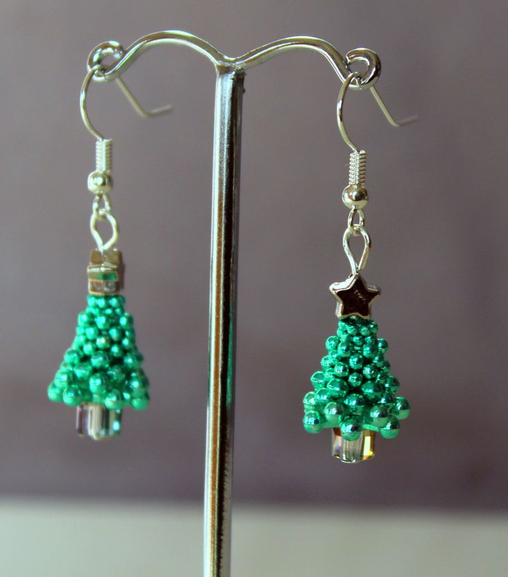 Metallic Xmas Tree Earrings with Crystal Base by LetsGetBusyBeading on Etsy