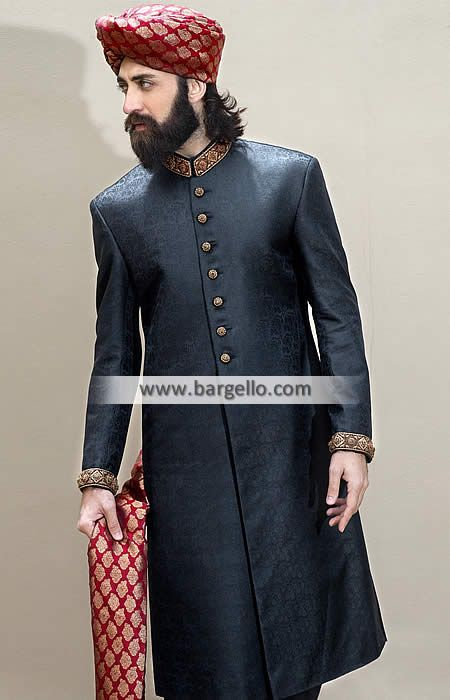 M818 Stylish Jamawar Sherwani for Groom - UK USA Canada Australia Saudi Arabia Bahrain Kuwait Norway Sweden New Zealand Austria Switzerland Germany Denmark France Ireland Mauritius and Netherlands
