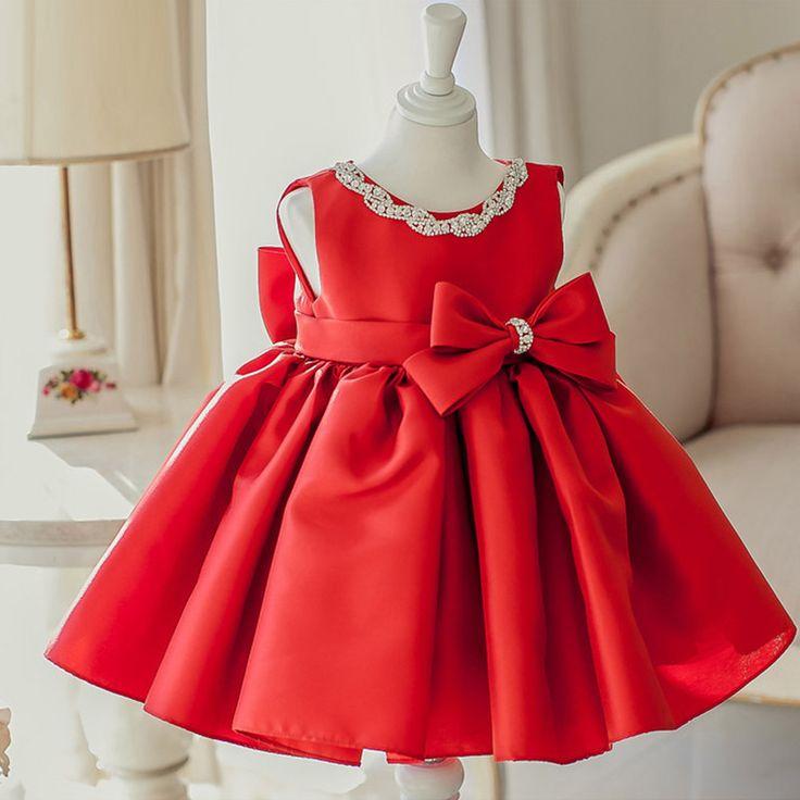 Red Flower Girl Dress, Red Christmas Dress, Red Baby Girl ...