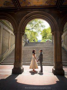 Heather & Scott, just married in Central Park, under Bethesda Terrace